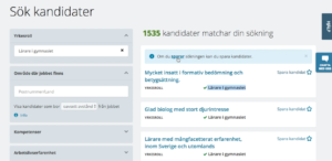 A screenshot of the new arbetsförmedlingen website with a list of candidates to the right and a search bar to the left