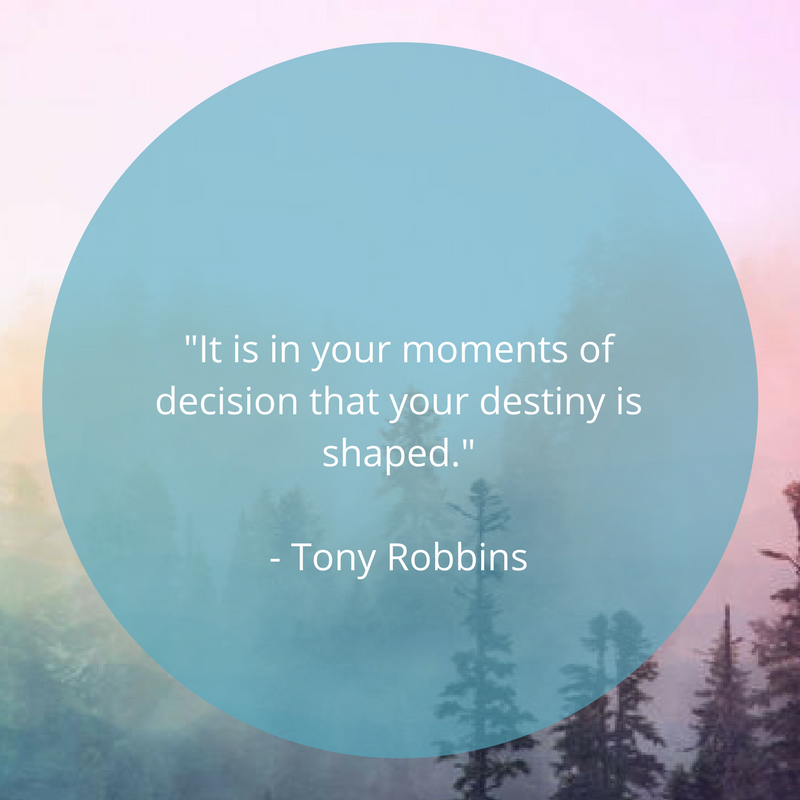 """Pink background with a blue circle with the text """"It is in your moments of decision that your destiny is shaped."""" - Tony Robbins"""