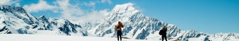 Two people hiking in the mountains