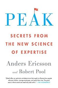 """the cover of the book Peak. Big letters on top saying PEAK and then a subheading """"secrets from the new science of expertise"""""""