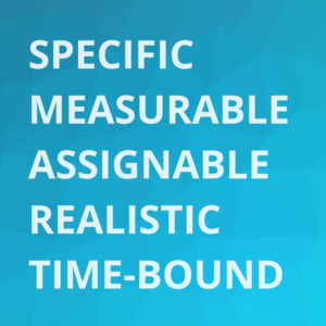 white letters on blue background, spelling out the words five cornerstones of SMART goalsetting: specific, meaurable, assignable, realistic, time-bound