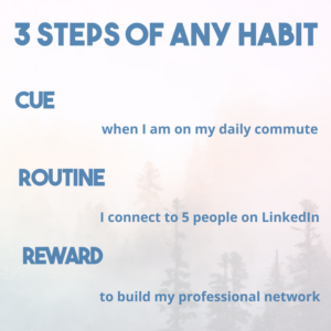 picture of a forest with the text 3 steps of any habit: cue (when I am on my daily commute), routine (I connect to 5 people on LinkedIn), reward (to build my professional network)