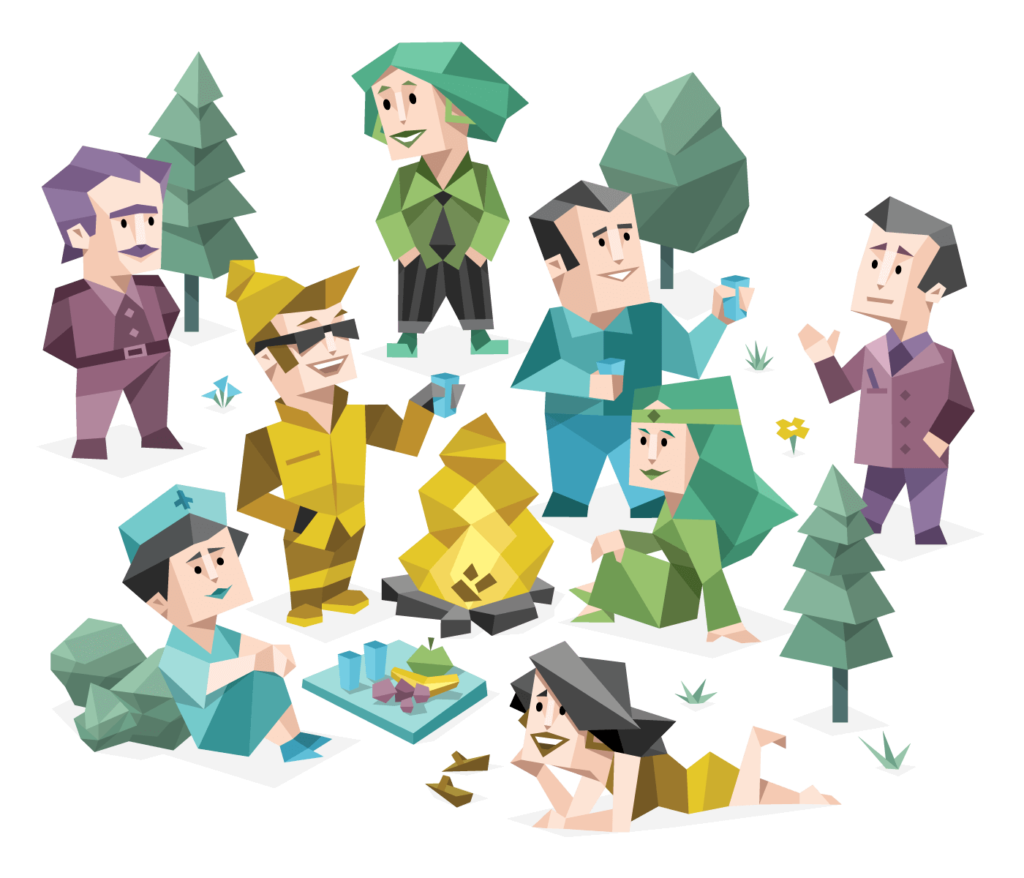 8 different cartoon people in a forest having a nice time around a campfire.