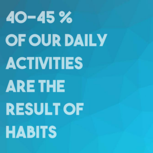 blue color with the white text 40-45 % of our daily activities are the result of habits