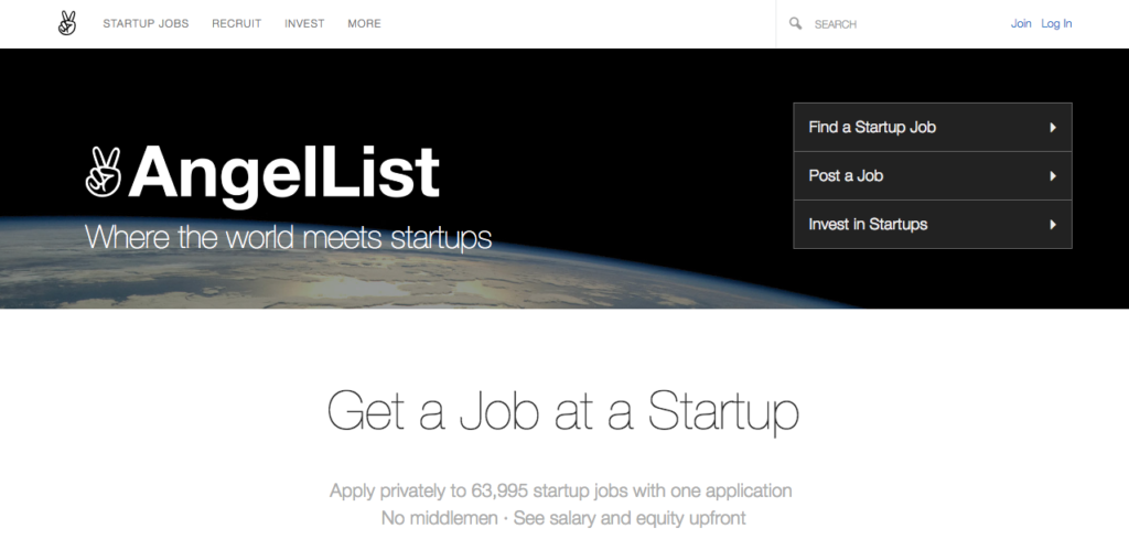"Home page of Angellist with a picture of the earth and then tagline: ""where the world meets startups"""