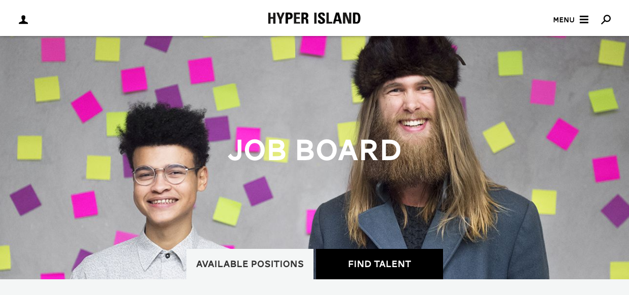 Home page of the hyper island job board. A picture of two happy people and post-its behind in pink, purple and yellow.