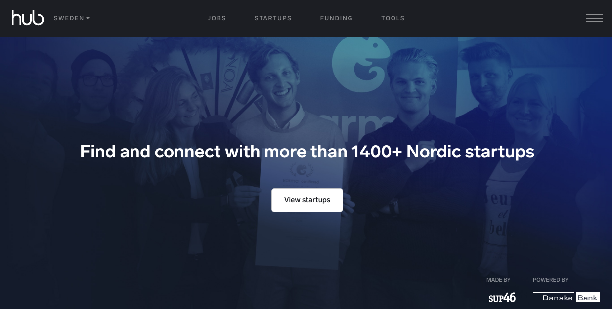 "The home page of thehub.se, a picture of happy people with the text ""find and connect with more than 1400+ nordic startups"""