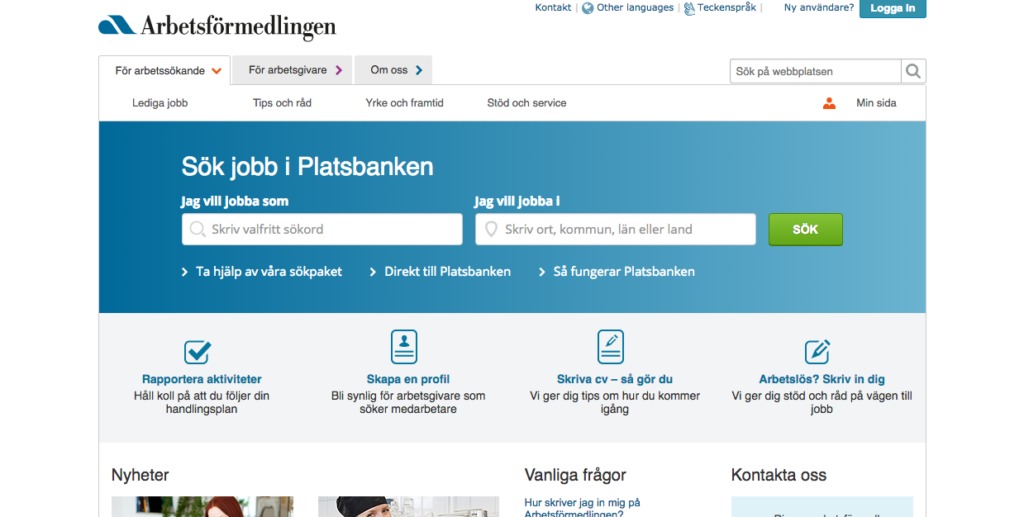 home screen of Platsbanken. Logo in the left upper corner, two search fields: one for occupation and one for location