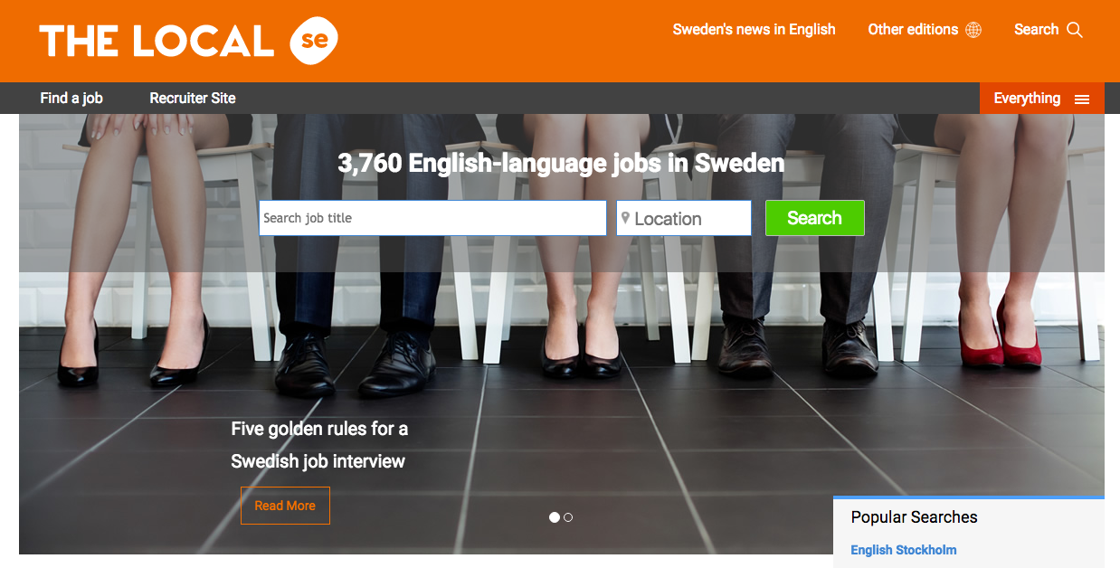 "The home page of thelocal.se's job board. A picture with four people sitting down and then a headline ""3760 English-language jobs in Sweden"" with a search bar for job title and one for location."